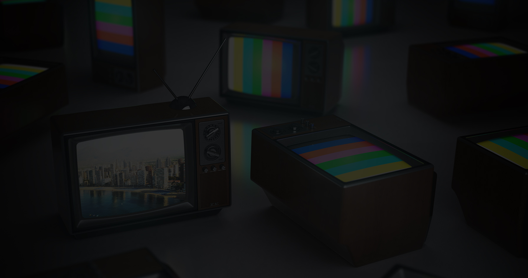 TVs with Test Signal and CGI Image on