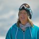 Jenny Jones being Filmed at the top of a snowy Mountain in Italy