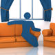 Frame of Animation from ING Financial Educational Animations Character sat on couch in living room